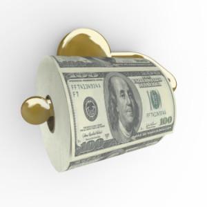 Toilet Paper Roll of Money - Hundred Dollar Bills