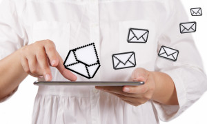 tablet computer and email icons