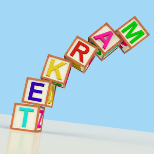 Market Blocks Showing Sales Marketing And Retail