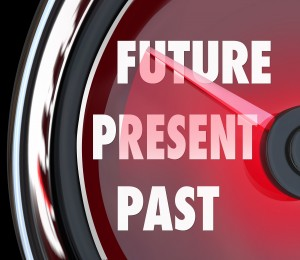 Future, Present and Past words on a red speedometer to predict what's coming next and looking forward to a successful tomorrow