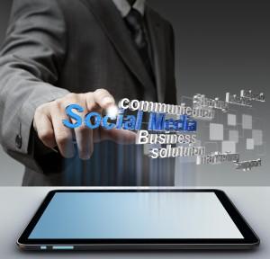 businessman hand shows 3d social media as concept
