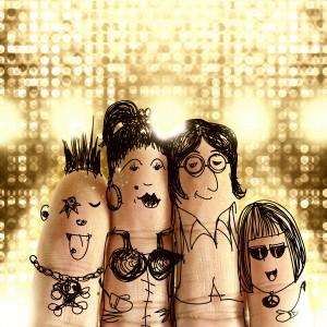 happy finger family at music festival concert