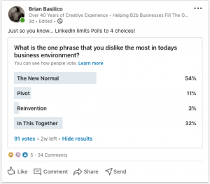 A poll used on LinkedIn to nurture return on relationship