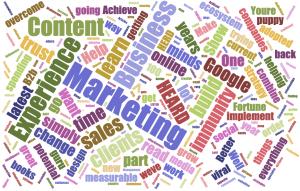 a word cloud focusing on marketing